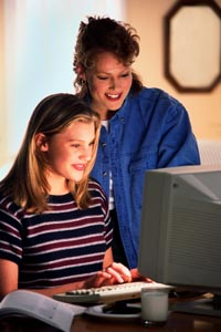 Picture of a mother and daughter working on the computer