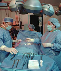 Picture of the operating room during surgery