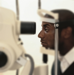 Patient having eye exam