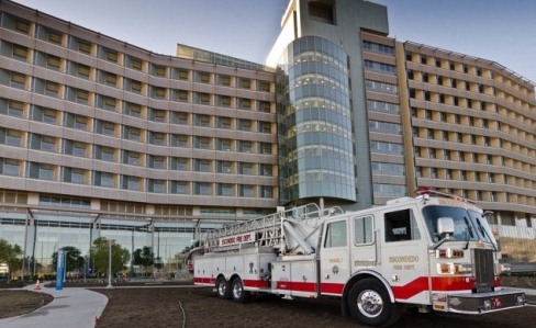 View of the north side of the building with a fire truck- January 2012. Photo courtesy of David Cox, DPR Construction.
