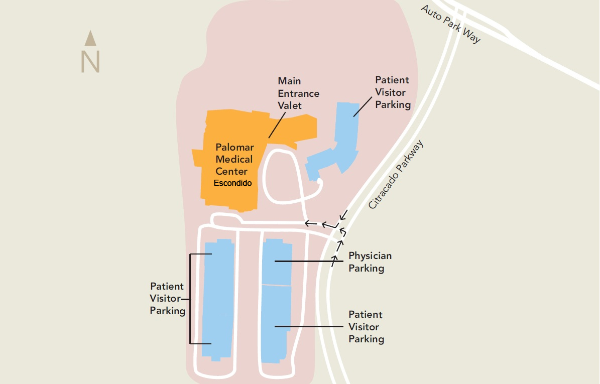 Palomar San Marcos Campus Map.Parking And Arrival Palomar Health San Diego County Ca