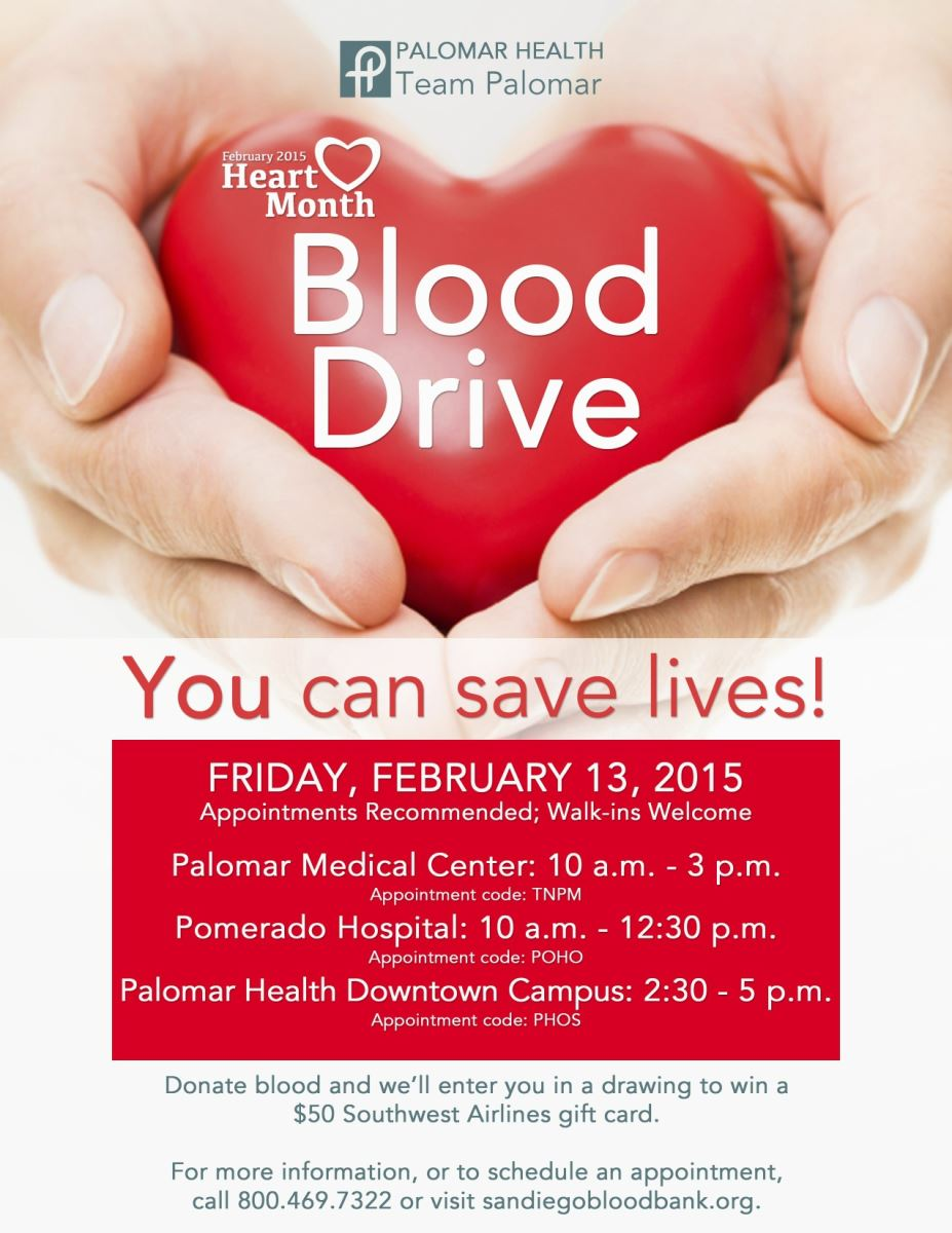 A Heart Detailing Palomar Health Blood Drive Date Time And Locations
