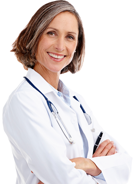 Image of woman doctor smiling at viewer